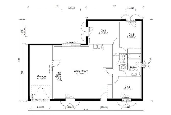 Maison neuve de 93 m² Cormoranche-sur-Saône